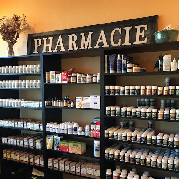 Wide angle view of the pharmacy